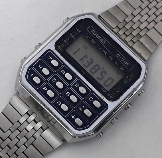 Relógio Casio Calculadora C-701 Dual Time Raro Década De 70