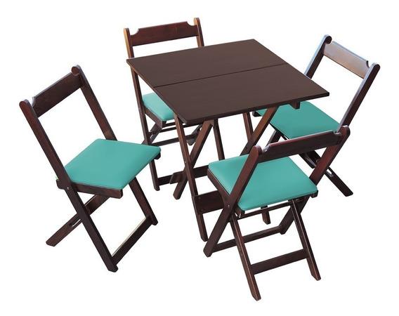 2 Mesas Dobrável 70 X 70 Cm 4 Cadeiras Em Estofado