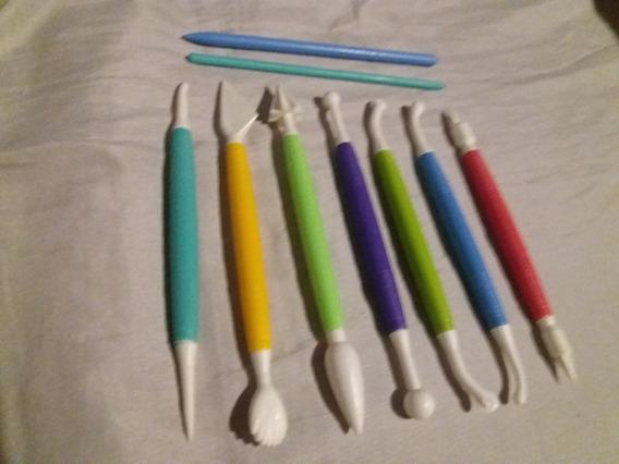 Set De 9 Estecas Marcador Reposteria Porcelana Fria Fondant