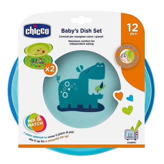 Conjunto De Pratos Para Bebê 12m+ Menino Azul Neutro Chicco