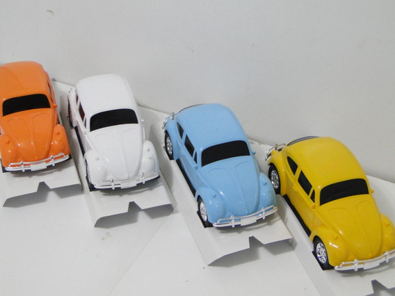 4 Miniatura Fusca 1969 Carrinho Laranja Branco Azul Amarelo
