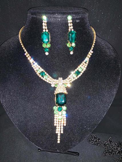 Gargantilla Y Aretes Cristales Verde / Dorado Collar
