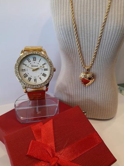 Belíssimo Kit Relógio Geneva + Semi Joia + Caixa Presente