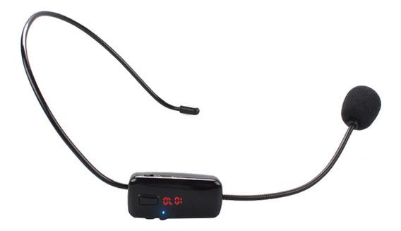 Portátil Lcd Wireless Microfone Headset Fm De Mãos-livres
