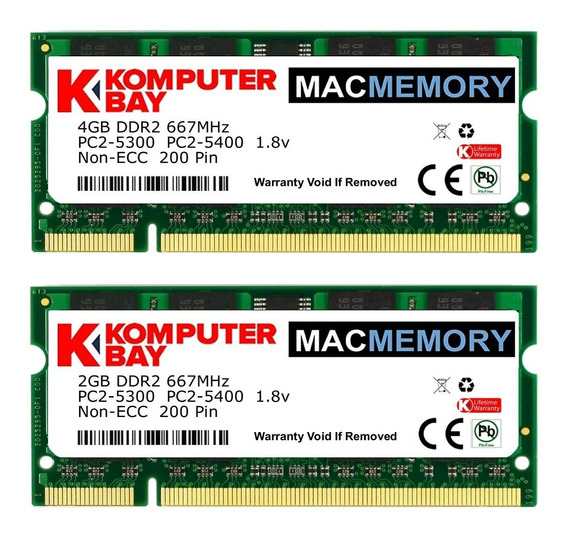 Memoria Ram 4gb Komputerbay Mac 6gb Kit ( + 2gb Modules) Pc2-5300 667mhz Ddr2 Sodimm Para Apple Macbook Pro Early 2008 2