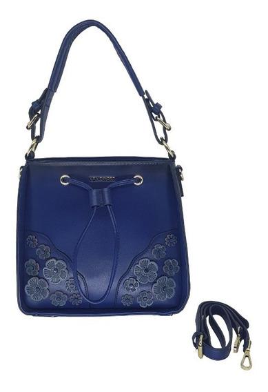 Bolsa Feminina Azul Com Duas Opções De Alças Tamanho Médio