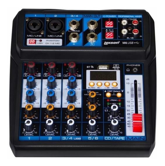 Mesa De Som Lexsen M6 Usb Mixer Analógico De 6 Canais