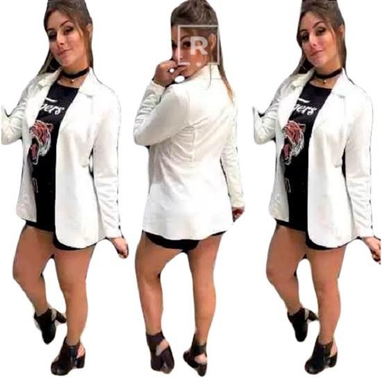 Blazer Longo Maxi Feminino Neoprene Alfaiataria