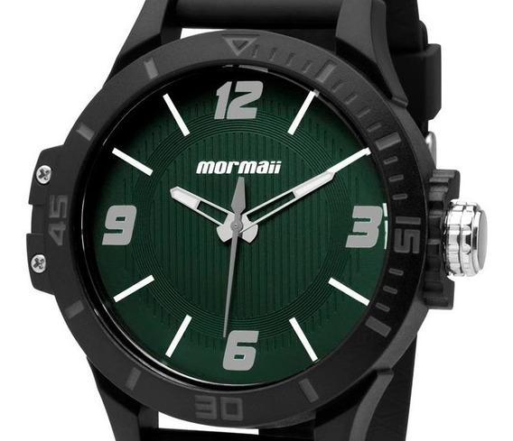 Relógio Mormaii Masculino Mo2035fl/8v Analogico Verde Pulseira Silicone Preta Original