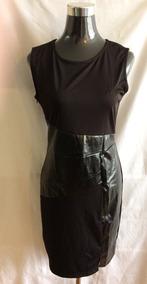 Vestido Negro Aplicacion Cuerina
