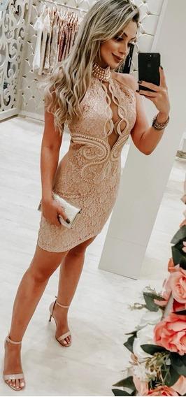 Vestido Rose Renda Bordado Vanessa Lima Tam 36