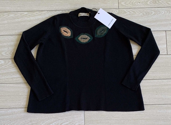 Sweater Jazmín Chebar Nuevo Tb Ginebra Cher Rapsodia Negro