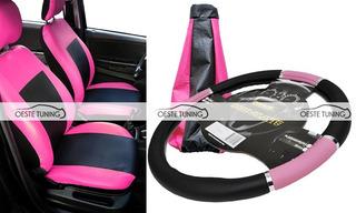 Fundas Cubre Asientos Cuero + Cubre Volante + Cofia Rosa
