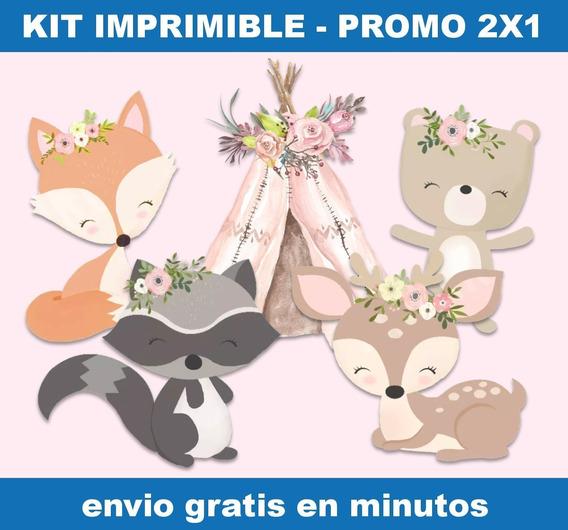 Kit Imprimible Animales Bosque Encantado Rosa Promo 2x1