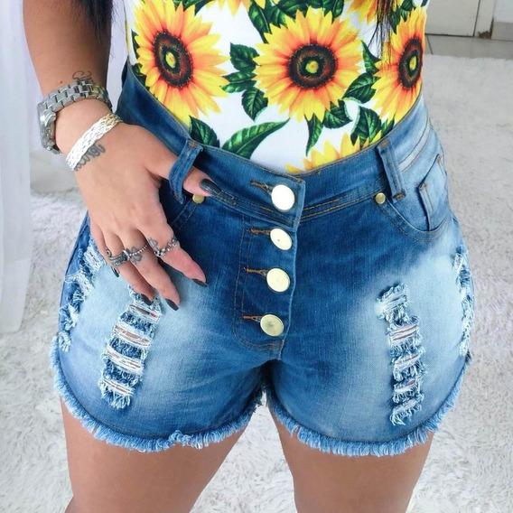 Shorts Jeans Cintura Alta Destroyed Hot Pants