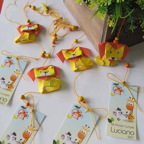 Souvenir Cumple Origami Colgante Animales Selva + Tag Pers.