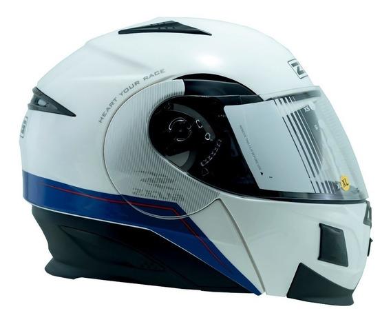 Capacete Zeus 3020 Ab11 C/óculos Branco/azul C/15% Desconto!