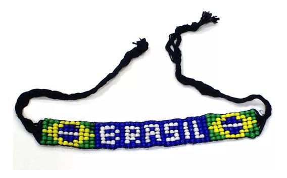 Kit 5 Pulseiras Miçangas Bandeira Brasil Souvenir Artesanato