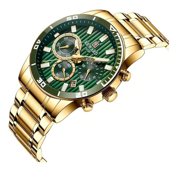 Relógio Masculino Dourado Reward Vip Luxo Original Quartzo