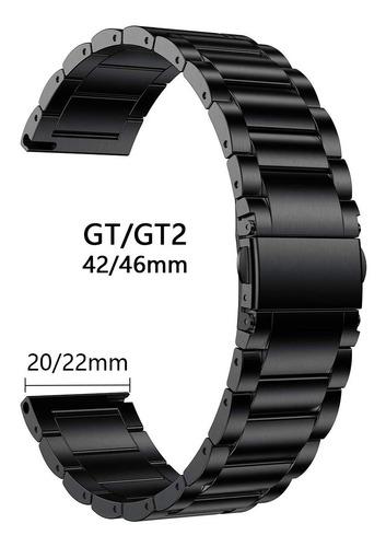 Imagen 1 de 10 de Correa De Acero Inoxidable Para Huawei Watch Gt/gt2 22/20mm