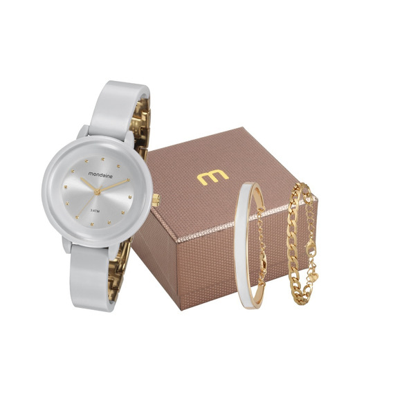 Relógio Mondaine Feminino Branco + Pulseiras 76709lpmvdy3k1