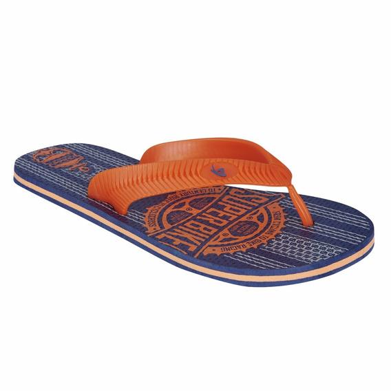 Sandalia Playa Para Caballero Color Naranja Azul