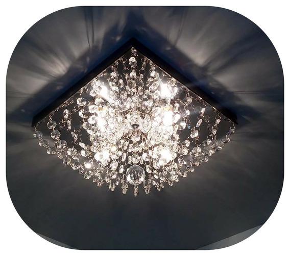 Lustre De Cristal Acrilico 30x30 Quadrado Ja Vai Montado