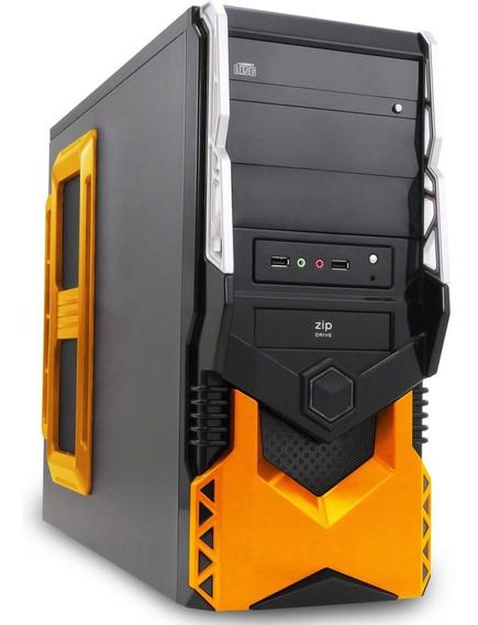 Kit Gabinete Atx Gamer Preto/laranja + Fonte 500w Real