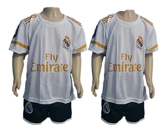 Kit Conjunto Uniforme Infantil Real Madrid Branco Futebol