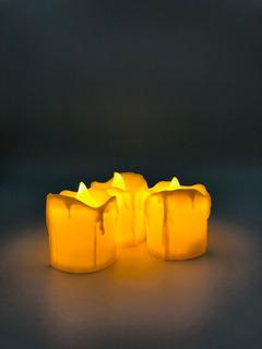 Caja 12 Velas Led Ambar 7 X 5 Cm, Flama Movible Decoración