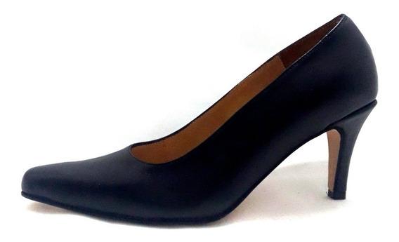 Sam123 Zapatos Taco Fiesta Cuero Talles Grandes 7500 Negro