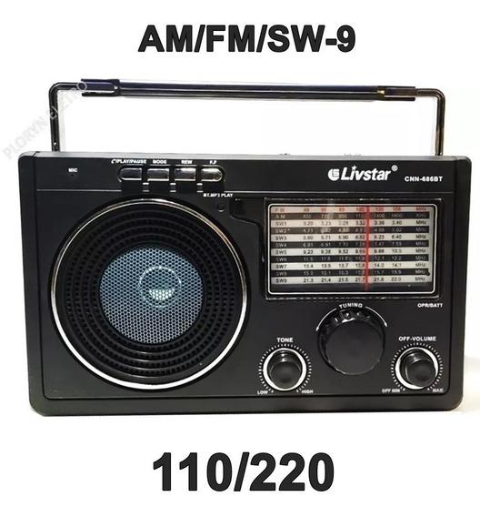 6 Rádio Am Fm Usb Sd Bivolt Entrada Fone De Ouvido Bluetooth Entrega Imediata