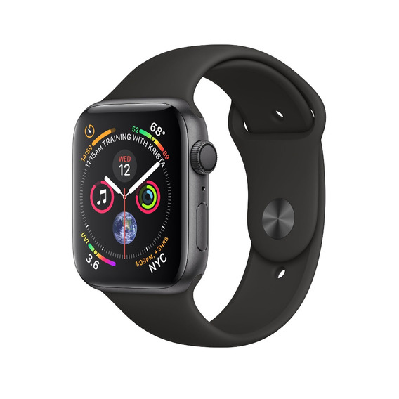 Apple Watch Series 4 44mm Gps Cinza Pulseira Sport Preto 12x