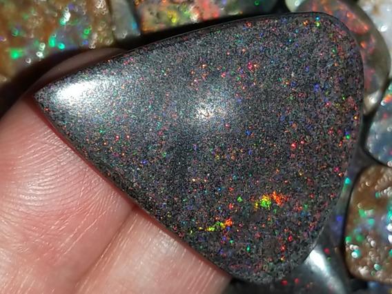 Pedra Opala Preciosa Black Matrix Rainbow Raríssima 26,80 Ct