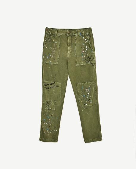 Pantalon Z.a.r.a. Cargo Paint Talle M