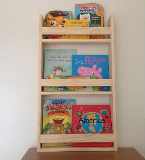 Estante Porta Livros Infantil Em Madeira Pinus
