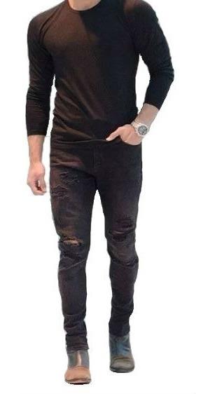 Calça Rasgada Preta Masculina Sarja Skinny Mod5