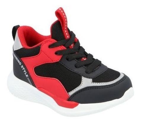 Tenis Casual Niño Negro/rojo M634521