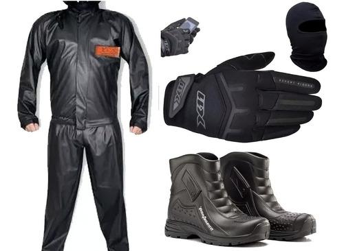 Kit Capa De Chuva + Luva X11 + Bota Pantaneiro + Touca Moto