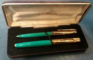 Parker 61 Mk Ll Set Lapicera Y Boligrafo Turquesa Oro Nuevo