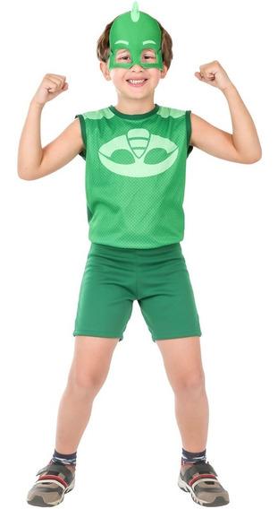 Roupa Infantil Menino Pj Masks Lagartixo Macacão 2 A 12 Anos