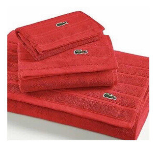 Set De 3 Toallas Lacoste Color Rojo 100% Algodón Originales