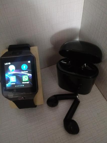 Promoção Relógio Bluetooth Smartwash + Fone Ouvido Bluetooth I7s 4.2 Par Tws Sem Fio Case Base