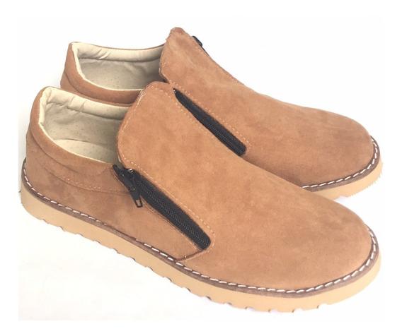 Zapato Con Cierre Simil Gamuza