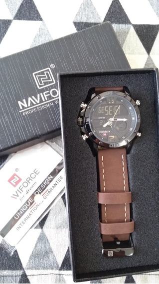Relógio Naviforce 9134 Masculino Pulseira Couro