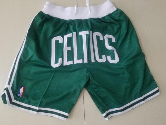 Boston Celtics Short Just Don Bordado Nba - A Pedido