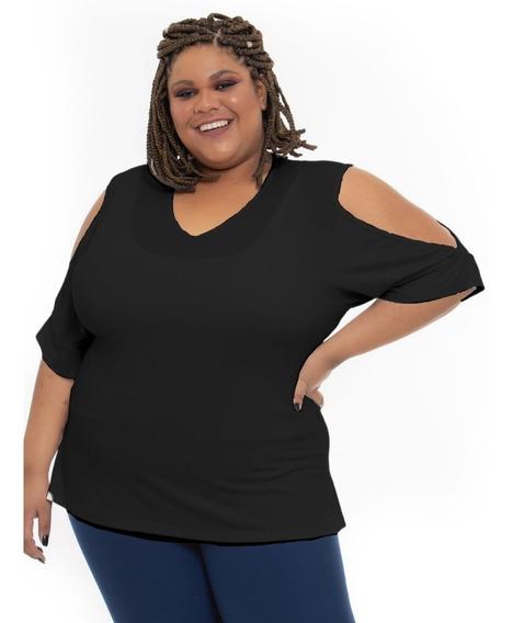 Blusa Plus Size Wonder Size Recorte Ombros Preta