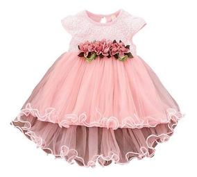 Lindo Vestido Rosa Com Flores - Batizado - Festas - Bebês