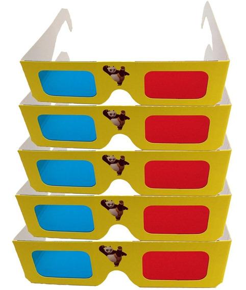 Pack Com 5 Óculos 3d Infantil Adulto Papelao Azul Vermelho