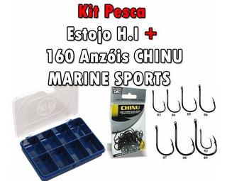 Kit Pesca 160 Anzol Marine Sports Chinu N°2 Ao 9 + Estojo Hi